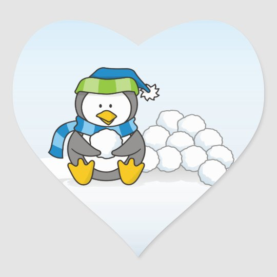 Little penguin sitting with snowballs heart sticker