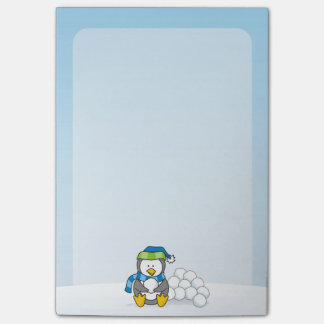 Little penguin sitting with snowballs post-it® notes