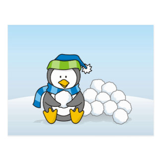 Little penguin sitting with snowballs postcard
