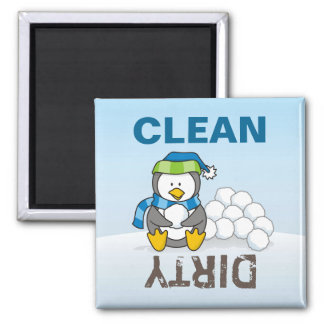 Little penguin sitting with snowballs square magnet
