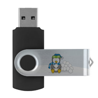 Little penguin sitting with snowballs USB flash drive