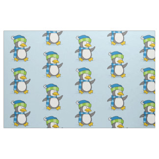 Little penguin walking on snow fabric