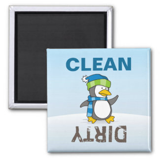 Little penguin walking on snow square magnet