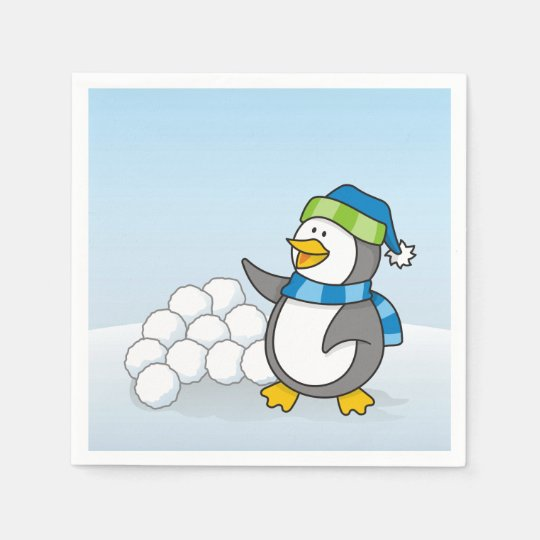 Little penguin with snow balls waving paper napkin