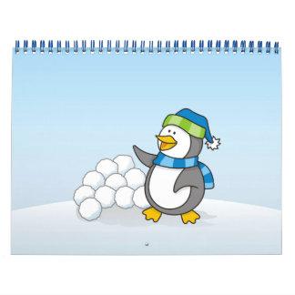 Little penguin with snow balls waving wall calendars