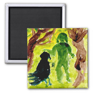 Little person and big bird friend magnet