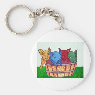 Little Piggies by Piliero Basic Round Button Keychain