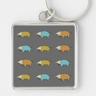 Little Piggies Silver-Colored Square Keychain