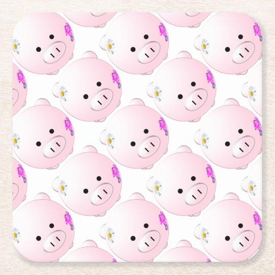 Little piggy square paper coaster