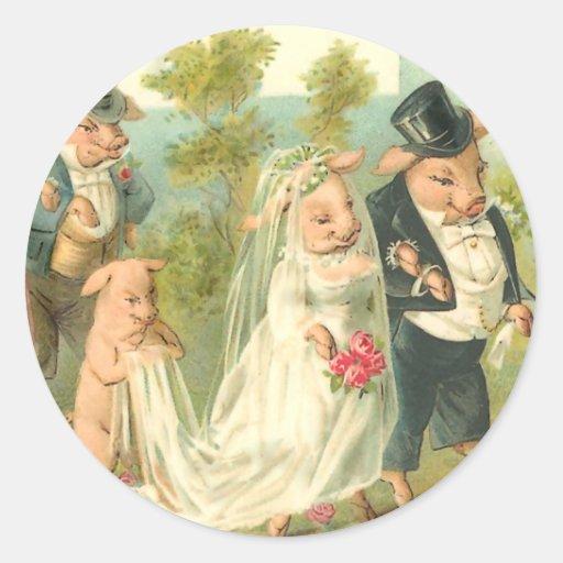 Little Piggy Wedding Stickers