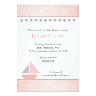Little Pink and Gray Sailboat Baby Shower Invite