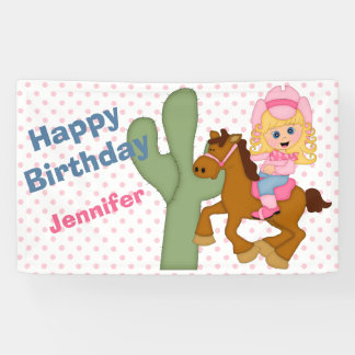 Little Pink Cowgirl Birthday Party Banner