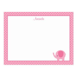 Little Pink Elephant Flat Note Cards Postcard