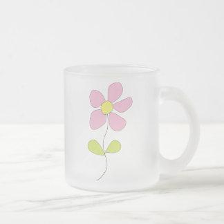 Little Pink Flower Frosted Glass Mug