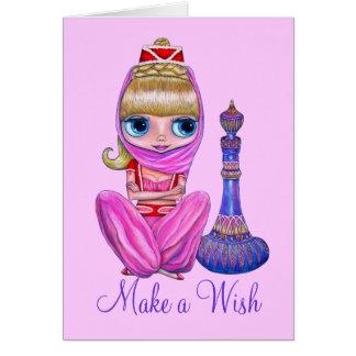 Little Pink Genie Purple Magic Bottle Make a Wish Card