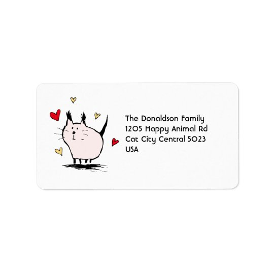 Little Pink Love Cat Address Labels