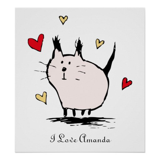 Little Pink Love Cat Poster