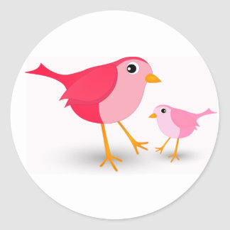 Little Pink Mother Bird & Her Chick Round Sticker
