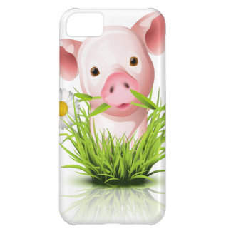 Little pink pig in grass cover for iPhone 5C