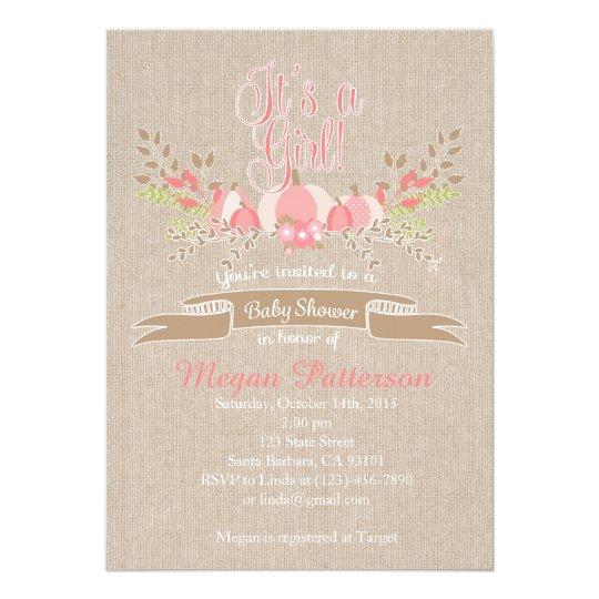 Little Pink  Pumpkin Baby Shower Invitation Burlap