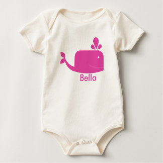 Little Pink Whale Personalized Baby Bodysuit