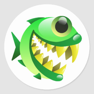 Little Piranha Classic Round Sticker