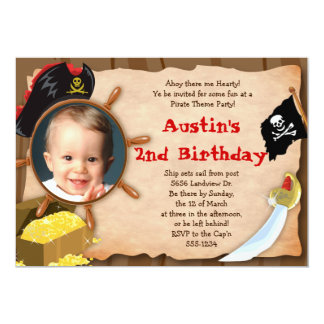 "Little Pirate Invitation - Boys - with Photo 5"" X 7"" Invitation Card"