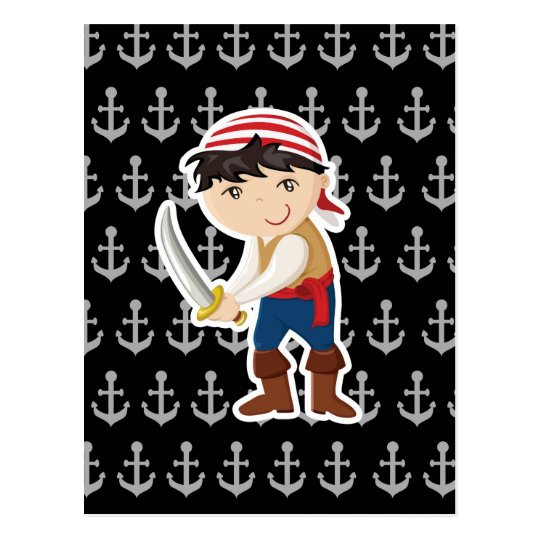 Little pirate with anchor postcard