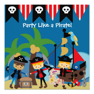 Little Pirates Kids Pirate Birthday Invitation