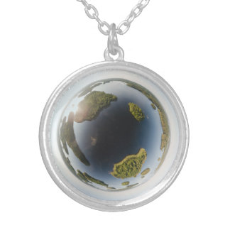 Little planet lake silver plated necklace