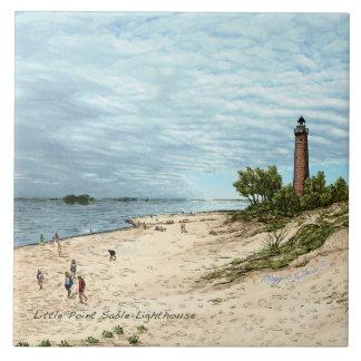 Little Point Sable Lighthouse Ceramic Tile