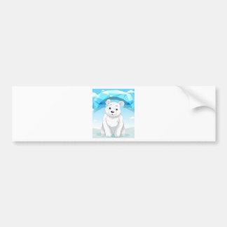 Little polar bear sitting on ice bumper sticker