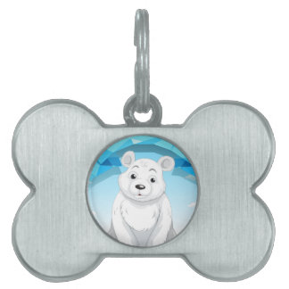 Little polar bear sitting on ice pet tag