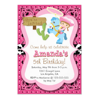 Little Pony Cowgirl Birthday Party Invitaiton Card