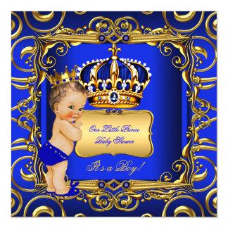 Little Prince Baby Shower Blue Brunette Baby Boy Card