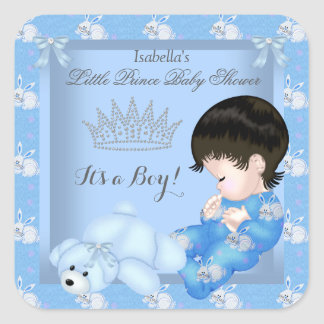 Little Prince Baby Shower Boy Blue Bunny Square Sticker