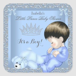 Little Prince Baby Shower Boy Blue Damask Toy 4 Square Sticker