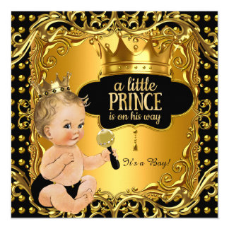 "Little Prince Baby Shower Gold Rattle Blonde Baby 5.25"" Square Invitation Card"