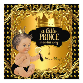 "Little Prince Baby Shower Gold Rattle Brunette 5.25"" Square Invitation Card"