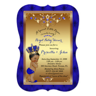 Little Prince Baby Shower Invitation, blue Bracket Card