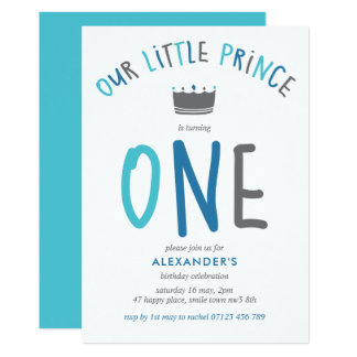 Little Prince First Birthday Party Invitation