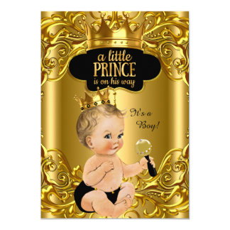 "Little Prince is on his way Baby Shower Blonde 5"" X 7"" Invitation Card"