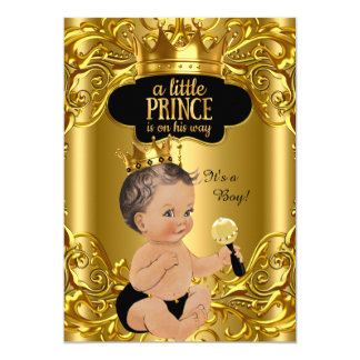 "Little Prince is on his way Baby Shower Brunette 5"" X 7"" Invitation Card"