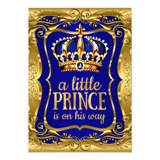 """Little Prince on his way Baby Shower Gold Blue 5"""" X 7"""" Invitation Card"""