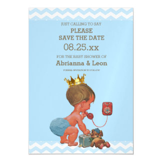 Little Prince on Phone Save The Date Gray Blue Magnetic Invitations
