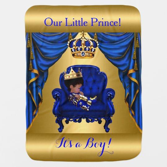 Little Prince Royal Blue Gold Blanket 2 Receiving Blankets