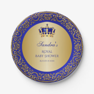 Little Prince Royal Blue Gold Crown 7 Inch Paper Plate