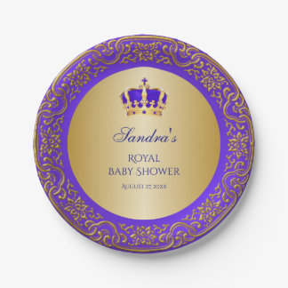 Little Prince Royal Purple Gold Crown 7 Inch Paper Plate