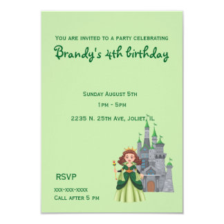 Little Princess and Castle in Green Birthday Card