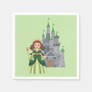 Little Princess and Castle in Green Paper Napkin